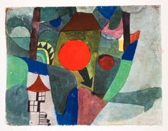 1969 Print Paul Klee With Setting Sun Mid Der Sinkenden Sonne Abstract Landscape