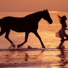 Running with a horse on the beach