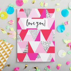 Love You greeting card. Design led cards. Valentine's Card. Romantic Card. Love. UK made. Anniversary card. Card for your girlfriend.