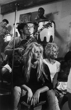 Brigitte Bardot and Sacha Distel by Burt Glinn - Saint-Tropez, France. 1958. ~ Brigitte here makes me feel better about my wild woman hair :)