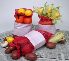 Party Ideas by Mardi Gras Outlet: Mesh Crawfish Sacks make fun Crawfish Boil Centerpieces!