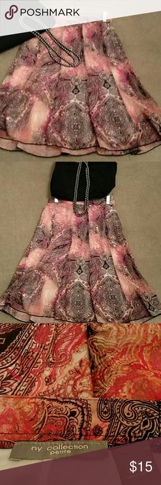 Floaty skirt?? super cute! Romantic pink and black floral skirt.  Size small to medium. Worn once too small for me. Skirts Midi
