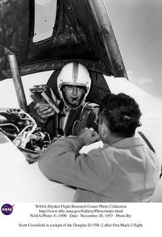 November 20, 1953: Scott Crossfield in cockpit of the Douglas D-558-2 after first Mach 2 flight. Photo credit: NASA
