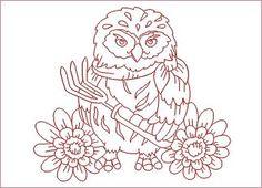 Redwork Garden Owls HatchedInAfrica.com | Product Details