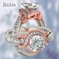 Created White Sapphire Rhodium Plated Sterling Silver Bridal Set #jeulia #jeulia #engagementrings #fashionjewelry #bridalset #fashion #beauty