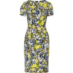 Erdem Joyce floral-print stretch-twill dress ($1,116) ❤ liked on Polyvore featuring dresses, blue, multi color dress, print dress, pattern dress, stretchy dresses and floral dress