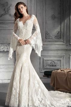 Attractive Lace & Tulle Jewel Neckline Mermaid Wedding Dress With Lace Appliques & Beadings