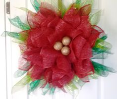 Christmas Pointsetter Flower Wreath  $50 shipping available  https://www.facebook.com/media/set/?set=a.790096881061071.1073741828.788713587866067&type=3