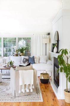 White (+ Neutral) Couch in a Room Inspiration Elements I like - sofa, round mirror, curtain panels, plants Bedroom Walls, Home Decor Bedroom, Living Room Designs, Living Spaces, Living Rooms, Condo Living, Family Rooms, Living Area, Living Room Chairs