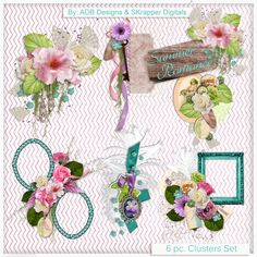 Summer Romance: Clusters - $2.09 : Digital Scrapbooking Studio Collab by #ADBDesigns & #SKrapper Digitals