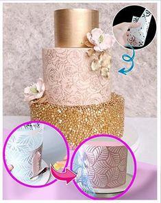 Cake Decorating Piping, Cake Decorating Videos, Cake Decorating Techniques, Fountain Wedding Cakes, Frosting Techniques, Cake Business, Lace Decor, Diy Cake, Cake Tutorial