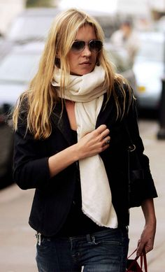 white scarf with your dark black leather jacket.  sweet  Kate Moss
