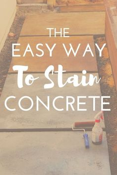 Looking for a beautiful budget-friendly and easy way to stain concrete?These concrete glazes couldn't be easier and give tons of variety and texture.Click through to see how easy it is! Stained Concrete Porch, Diy Concrete Stain, Painted Concrete Floors, Concrete Walkway, Concrete Projects, Plywood Floors, Concrete Design, Painting Concrete Patios, Water Based Concrete Stain