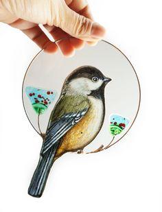 Chickadee Suncatcher  Window hangings birds Stained glass fused glass