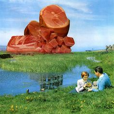 """'In Wisconsin, where I live, the majority of rural land is utilized for raising cows, either for grazing land, growing food for cattle, or appropriating water for livestock so I started thinking about how to represent this in a graphic form,' so said Nicolas Lampert of his art series, Meatscapes, which displaces geographical and architectural forms with slabs of meat. Good try, but it's not going to stop us from going """"W… T… F…""""."""