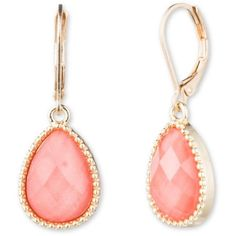 Nine West Vintage America Collection Coral Goldtone And Coral Faceted... (18 AUD) ❤ liked on Polyvore featuring jewelry, earrings, accessories, coral, gold tone earrings, tear drop earrings, teardrop earrings, facet jewelry and coral jewellery