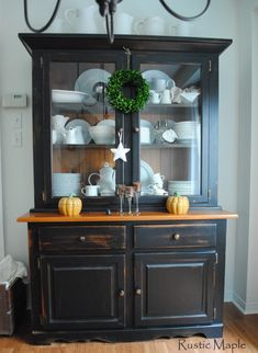 2015+10+dining+room+Fall+black+china+cabinet+candles+ironstone+1.jpg (1170×1600)