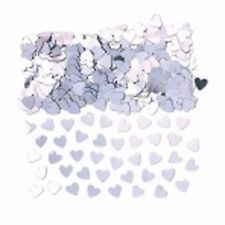 1 x 14g Bag of Table Confetti - Silver Sparkle Hearts Sprinkles