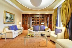 The Presidential Suite makes you feel like you are head of a country. Warm colours, beautiful furnitures, and giant space. Dream Hotel, Warm Colours, Above The Clouds, Sofa, Couch, Furnitures, Rooms, Space, Country