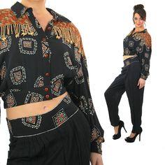 c1567311cc Animal print jumpsuit vintage 80s fringe beaded 2 piece playsuit Patchwork  crop top high waist harem pants wide sleeve button up M