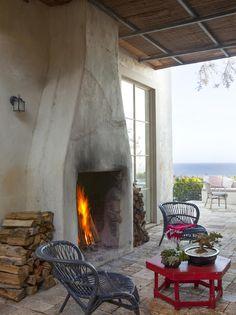 huge outdoor fireplace