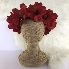Day Of The Dead Red Hibiscus Artificial Flower Crown Floral Wreath / Racewear / Girl / Hair Flowers Fake Silk Fascinator / Tropical / Boho by FauxFloralCo on Etsy https://www.etsy.com/au/listing/485616563/day-of-the-dead-red-hibiscus-artificial