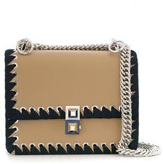 Fendi Kan I Ribbon Stitch Bag (7,965 ILS) ❤ liked on Polyvore featuring bags, handbags, kirna zabete, top handles, camel bag, ribbon purse, top handle bags, fendi and camel handbags