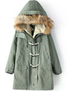 Green Removable Fur Hooded Long Sleeve Coat - abaday.com