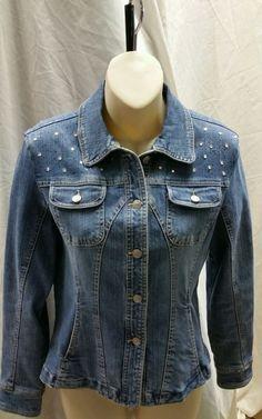 Denim Jacket size Petite Medium Live a Little ladies juniors #LiveaLittle #BasicJacket