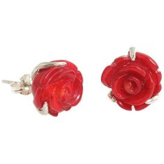 DOSE of ROSE Rose Stud Earrings ($26) ❤ liked on Polyvore featuring jewelry, earrings, rose earrings, red rose earrings, sterling silver earrings, bamboo jewelry and sterling silver jewelry