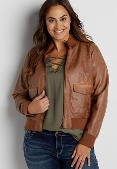 plus size faux leather bomber jacket (original price, $79.00) available at #Maurices