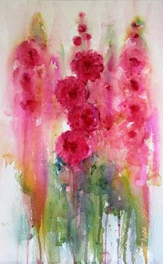 Watercolours With Life: Hollyhocks in Watercolour