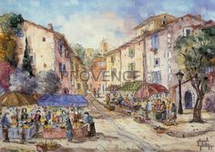 """Place de Varage (Ref/GIR030) by Philippe Giraudo - Reproduction 70 x 50 cm (19.75"""" x 27.60"""") - $ 24.99 Reproduction, French Artists, Painting, Painting Art, Paintings, Painted Canvas, Drawings"""