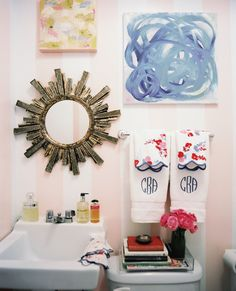 Lonny March/April 2012: Anna Burke's pink-striped bathroom.