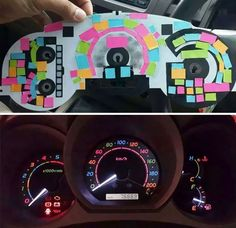 Wow. | Someone Used Post-It Notes To Color Dashboard Lights