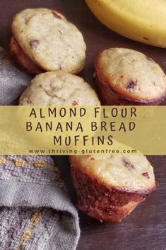 Almond Flour Banana Bread Muffins – Thriving Gluten Free - Recipes to Try - Yorgo Banana Bread Almond Flour, Banana Bread Muffins, Gluten Free Banana Bread, Almond Flour Recipes, Healthy Banana Bread, Healthy Muffins, Banana Bread Recipes, Muffins With Almond Flour, Almond Flour Desserts
