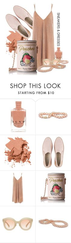 """""""Ain't she a peach"""" by interesting-times ❤ liked on Polyvore featuring Bobbi Brown Cosmetics, UGG, Sans Souci, Betsey Johnson, Kaleos and SNEAKERSANDDRESSES"""