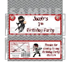Personalized WARRIOR NINJA Birthday Party candy bar wrappers Favors FREE FOILS
