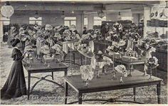 Galeries Lafayette ~ Paris, France. Le Rayon Hats for Children and Young girls (early 1900's)