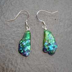 Green Opal Shell Earrings -  Blue, Green, Purple,  and Gold Fire and Flash with Sterling Silver.