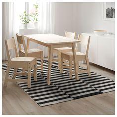 IKEA - STOCKHOLM Rug, flatwoven black striped handmade, off-white