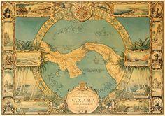 Karte von Panama Vintage Karte Kleingedruckte von AncientShades