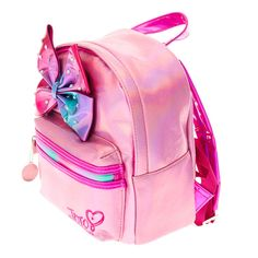 Jojo Siwa Pink Shimmer Bedazzled Bow Mini Backpack,so cute. Jojo Siwa Bows, Jojo Bows, Sequin Backpack, Mini Backpack, Marshmallow Costume, Barbie Bike, Jojo Siwa Outfits, Jojo Siwa Birthday, Baby Doll Accessories