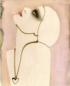 #MargotMace #illustration #woman #woodblockillustration #fashionillustration #trafficnyc #watercolor #heart