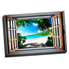 Private Beach View 24x36 Landscape Art Printed on Framed Ready to Hang Canvas (Canvas)