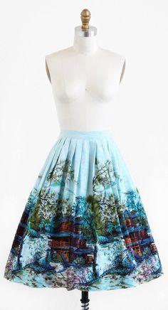 vintage 1950s geishas + pagodas novelty print skirt | www.rococovintage.com