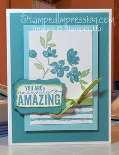 Amazing flower design using Painted Petals stamp set from Stampin' Up! 2015 Occasions catalog. Colors are Lost Lagoon, Pool Party and Pear Pizzazz. Visit http://stampedimpression.com/sneak-occasions-catalog/ for more details.