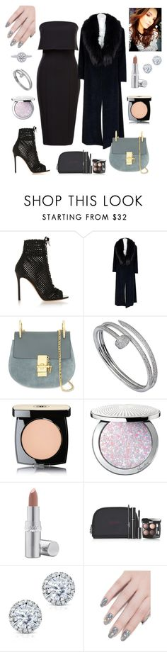 """""""Untitled #196"""" by leah93-1 ❤ liked on Polyvore featuring Gianvito Rossi, Chloé, Cartier, Chanel, Guerlain, La Prairie, Kobelli and ncLA"""