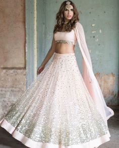 Buy light pink Color with astute resham & zari work designer lehenga choli online.This set is features a light pink blouse in silk with sequin work.It has matching light pink lehenga in net with beautiful embroidery all over and light pink dupatta in Indian Lehenga, Pink Lehenga, Lehenga Choli, Net Lehenga, Pink Bridal Lehenga, Sabyasachi, Pakistani, Indian Bridal Fashion, Indian Wedding Outfits