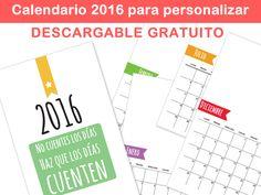 Plantilla para calendario personalizado 2016